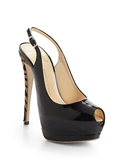 Giuseppe Zanotti - Patent Leather & Pony Hair Slingback Pumps