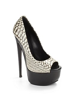 Giuseppe Zanotti - Snakeskin-Printed Peep Toe Platform Pumps