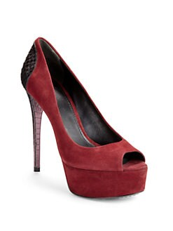 B Brian Atwood - Blayne Suede & Snakeskin Platform Pumps