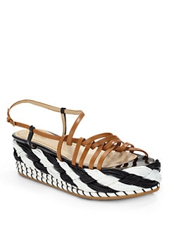 Pollini - Woven Leather Platform Wedge Sandals