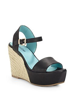 Pollini - Leather & Espadrille Wedge Sandals