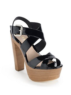 Pour La Victoire - Gisela Patent Leather Platform Sandals/Black