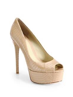 B Brian Atwood - Snakeskin Leather Platform Pumps/Natural