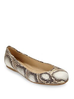 Stuart Weitzman - Dotsnot Snakeskin Ballet Flats/Oat