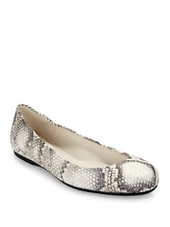 Stuart Weitzman - Dotsnot Snakeskin Ballet Flats/Latte