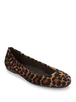Stuart Weitzman - Dotsnot Leopard Print Haircalf Ballet Flats