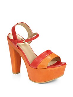 Stuart Weitzman - Once Colorblock Leather Platform Sandals
