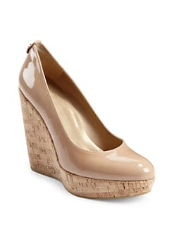 Stuart Weitzman - Corkswoon Patent Leather Cork Wedge Pumps