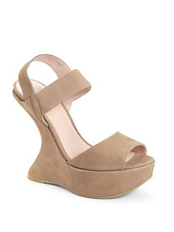 Stuart Weitzman - Bandana Suede Sculptural Wedge Sandals