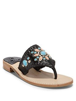 Jack Rogers - Gem Snap Thong Sandals/Black