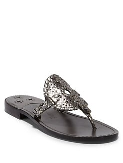 Jack Rogers - Georgica Python Thong Sandals/Pewter