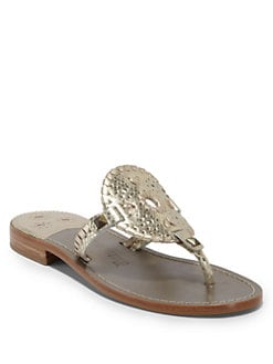 Jack Rogers - Georgica Python Thong Sandals/Platinum Gold