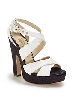Jerome C. Rousseau - Colorblock Woven Strappy Sandals