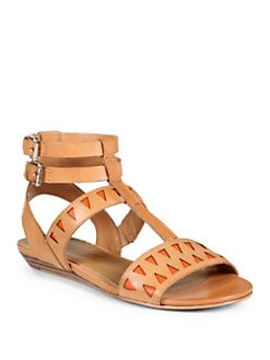 Rebecca Minkoff - Barb Laser Cut Gladiator Sandals/Persimmon