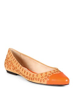 Rebecca Minkoff - Irene Suede & Leather Ballet Flats/Persimmon