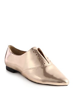 Rebecca Minkoff - Carla Laceless Oxfords/Metallic