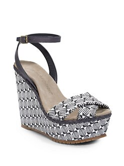 Jean-Michel Cazabat - Holly Woven Raffia Wedge Sandals