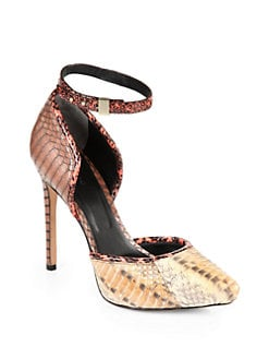 Rachel Roy - Gemma Snakeskin-Printed Ankle Strap Pumps/Natural Multi