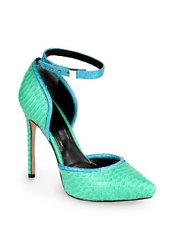 Rachel Roy - Gemma Snakeskin Ankle Strap Pumps/Sea Glass
