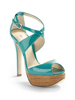 Alexandre Birman - Patent & Woven Leather Platform Sandals/Sea Foam