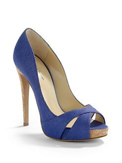 Alexandre Birman - Canvas Peep Toe Platform Pumps