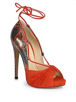 Alexandre Birman - Snake-Embossed Leather & Suede Sandal