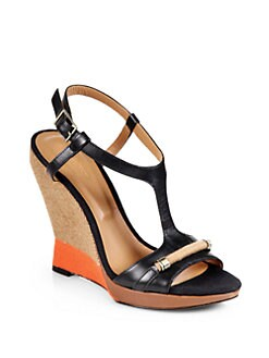 Rachel Roy - Terese Leather & Canvas Wedge Sandals