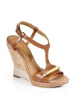 Rachel Roy - Terese Leather & Cork Wedge Sandals
