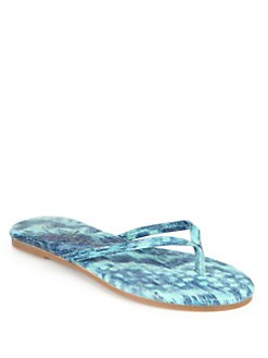 Yosi Samra - Tie-Dyed Snakeskin Print Thong Sandals/Sea Foam