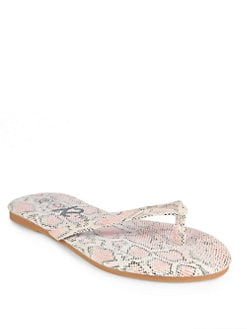 Yosi Samra - Lizard-Embossed Thong Sandals/Blush