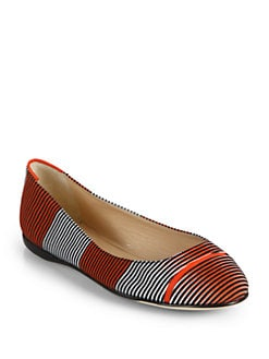Calvin Klein Collection - Elissa Optical Print Ballet Flats/Orange