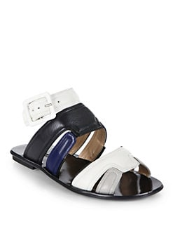 Calvin Klein Collection - Leah Colorblock Flat Sandals/Blue