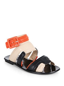 Calvin Klein Collection - Leah Colorblock Flat Sandals/Orange