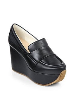 Calvin Klein Collection - Matea Leather Wedge Pumps