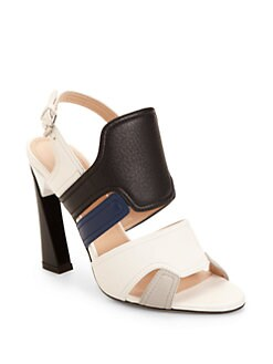Calvin Klein Collection - Verushka Colorblock Leather Sandals/Black