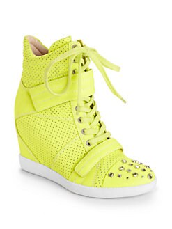 Boutique 9 - Nevan Embellished Perforated Leather Wedge Sneakers