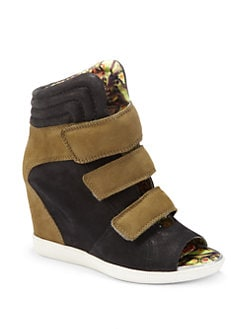 Boutique 9 - Nerine Peep-Toe Colorblock Leather Wedge Sneakers