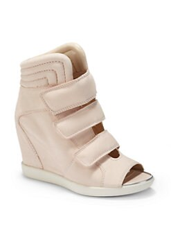 Boutique 9 - Nerine Peep-Toe Leather Wedge Sneakers