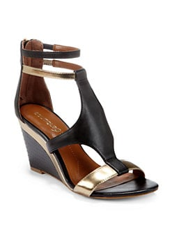 Boutique 9 - Petruchio Open-Toe Back-Zip Wedges/Black Metallic