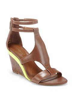 Boutique 9 - Petruchio Back-Zip Wedge Sandals/Brown Snake
