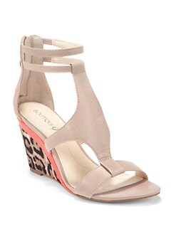 Boutique 9 - Petruchio Back-Zip Wedge Sandals/Nude Leopard