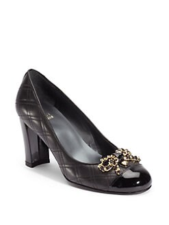 Stuart Weitzman - Quantas Quilted Nappa Bow Pumps