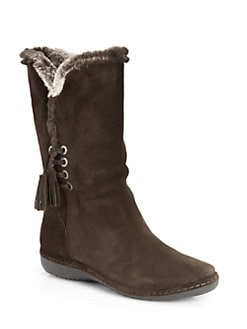 Stuart Weitzman - Furlure Suede Faux Fur Boots