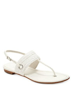 Stuart Weitzman - Bimini Woven Thong Slingback Sandals/White