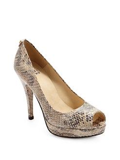 Stuart Weitzman - Provence Snakeskin-Embossed Platform Pumps/Mushroom