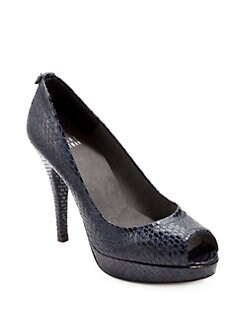 Stuart Weitzman - Provence Snakeskin-Embossed Platform Pumps/Sea