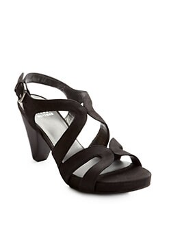 Stuart Weitzman - Swingband Suede Platform Sandals/Black