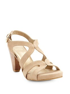 Stuart Weitzman - Swingband Suede Platform Sandals/Tan