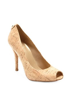 Stuart Weitzman - Logo Flame Cork Peep-Toe Pumps