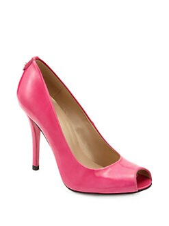 Stuart Weitzman - Logo Flame Patent Leather Peep-Toe Pumps